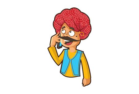 Vector cartoon illustration of a rajasthani man talking on the phone. Isolated on white background.