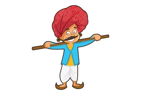 Vector cartoon illustration of a rajasthani man holding a stick. Isolated on white background.