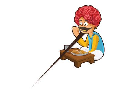 Vector cartoon illustration of Rajasthani man eating food. Isolated on white background.
