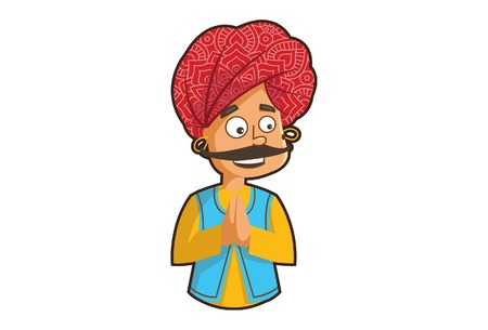 Vector cartoon illustration of a Rajasthani man greet hand. Isolated on white background.