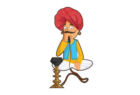 Vector cartoon illustration of a rajasthani man holding hookah. Isolated on white background.