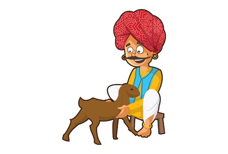 Vector cartoon illustration of Rajasthani man holding goat child. Isolated on white background.