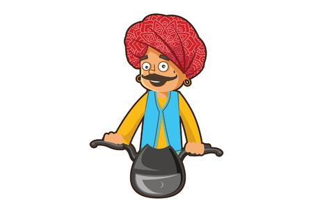 Vector cartoon illustration of a rajasthani man riding a bike. Isolated on white background. Illustration