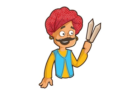 Vector cartoon illustration of a rajasthani man holding kulfi. Isolated on white background.