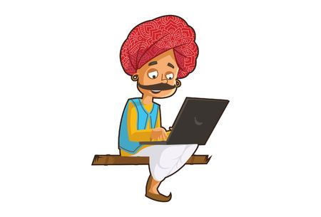 Vector cartoon illustration of a rajasthani man working on a laptop. Isolated on white background.