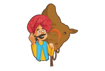Vector cartoon illustration of a rajasthani man holding camel. Isolated on white background. Illustration