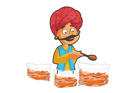 Vector cartoon illustration of a rajasthani man selling chili powder. Isolated on white background. Illustration