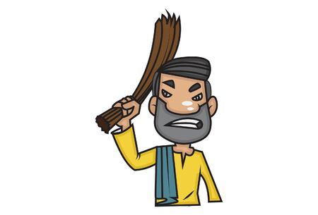 Vector cartoon illustration of man holding broom. Isolated on white background. Illustration