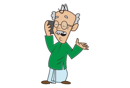 Vector cartoon illustration. Grandfather is talking on the phone. Isolated on white background.
