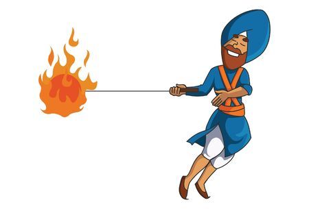 Vector cartoon illustration of Punjabi Nihang Sardar holding fire kandayali gola in hand. Isolated on white background.