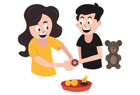 Vector cartoon illustration. Sister is tying rakhi on his brother's hand. Rakhi celebration. Isolated on white background.
