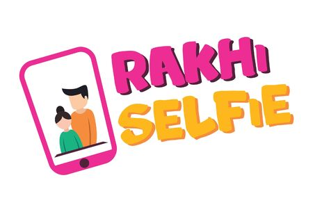 Vector cartoon illustration. Boy and girl rakhi selfie picture in the phone. Isolated on white background. Vectores