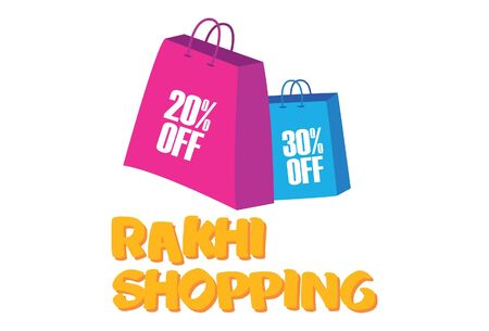 Vector cartoon illustration of shopping bag. Lettering rakhi shopping text. Isolated on white background.