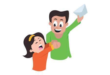 Vector cartoon illustration of brother teasing his sister. Isolated on white background.  イラスト・ベクター素材