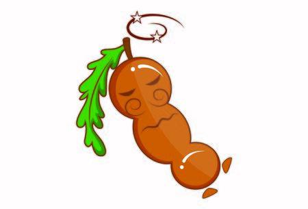 Vector cartoon illustration of tamarind sleeping. Isolated on white background.