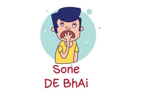 Vector cartoon illustration of boy try to sleep. Lettering sone de bhai Hindi Text translation - Let me sleep brother. Isolated on white background. Vector Illustration