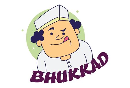 Vector cartoon illustration of man showing tongue out. Lettering bhukkad Hindi Text translation - hungry. Isolated on white background. Ilustração