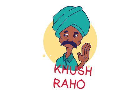 Vector cartoon illustration of Indian man. khush raho Hindi text translation - Be happy. Isolated on white background.  イラスト・ベクター素材