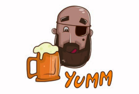 Vector cartoon illustration of pirate with beer mug and yum text. Isolated on white background.