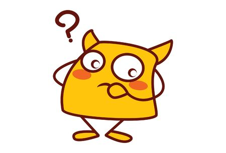 Vector cartoon illustration of yellow monster is thinking. Isolated on white background. 向量圖像