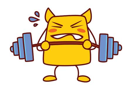 Vector cartoon illustration of yellow monster is picking dumbbell. Isolated on white background.