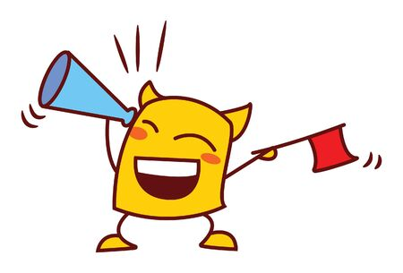 Vector cartoon illustration of yellow monster with megaphone and flag. Isolated on white background. Ilustrace