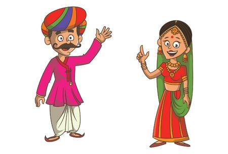 Vector cartoon illustration of Gujarati couple. Isolated on white background.