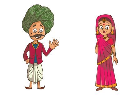 Vector cartoon illustration of rajasthani couple. Isolated on white background. Иллюстрация