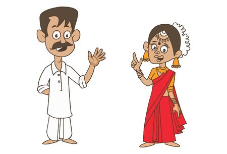 Vector cartoon illustration of Andhra Pradesh couple. Isolated on white background.