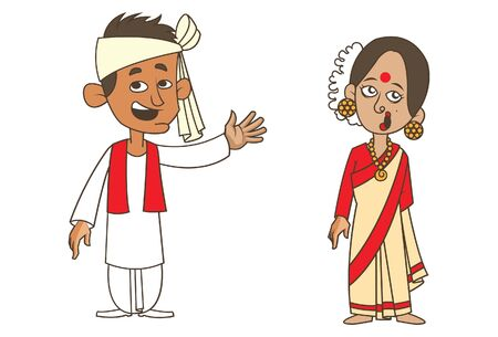 Vector cartoon illustration of Assam couple. Isolated on white background.