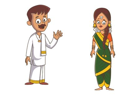 Vector cartoon illustration of Tamil Nadu couple. Isolated on white background.