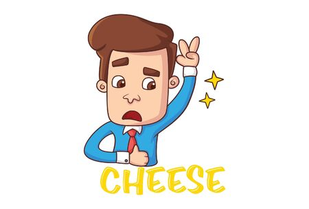 Vector cartoon illustration. Office employee is making victory sign and saying cheese. Isolated on white background.