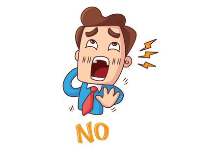 Vector cartoon illustration of office employee is shouting and saying no. Isolated on white background. Ilustração