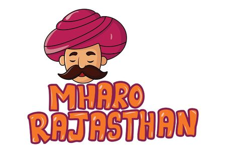 Vector cartoon illustration of man. Mharo rajasthan text translation My dear rajasthan. Isolated on white background.