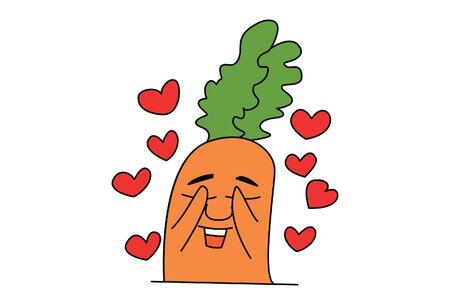 Vector cartoon illustration of cute carrot in love. Isolated on white background.