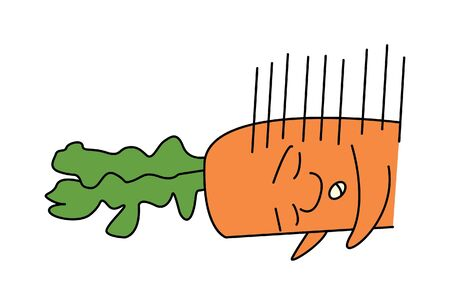 Vector cartoon illustration of cute carrot is sleeping. Isolated on white background.