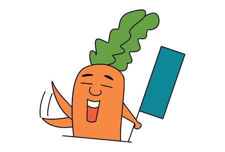 Vector cartoon illustration of cute carrot holding flag. Isolated on white background.