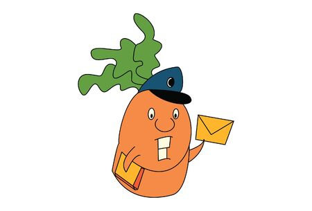 Vector cartoon illustration of cute postman carrot. Isolated on white background.