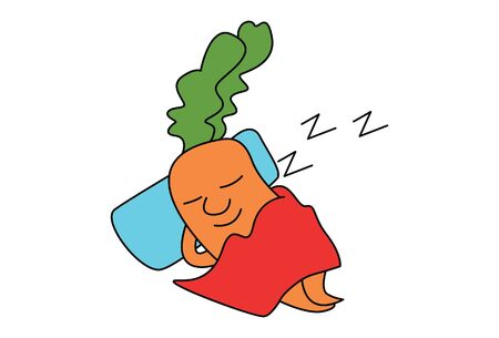 Vector cartoon illustration of cute carrot sleeping. Isolated on white background.