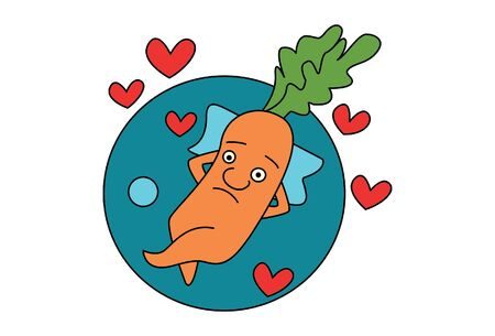 Vector cartoon illustration of cute carrot sleeping with hearts. Isolated on white background.