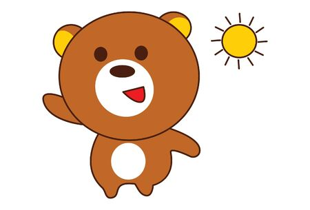 Vector cartoon illustration. Teddy bear is walking in the morning and sun rise. Isolated on white background.