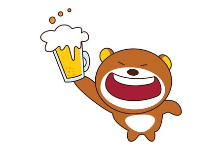 Vector cartoon illustration of cute teddy bear with beer mug. Isolated on white background.