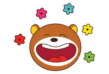 Vector cartoon illustration of cute teddy bear laughing with flowers. Isolated on white background.