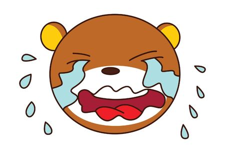 Vector cartoon illustration of cute teddy bear is crying. Isolated on white background.
