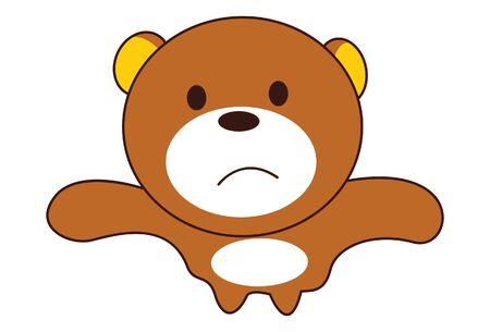 Vector cartoon illustration of cute teddy bear sad face. Isolated on white background.