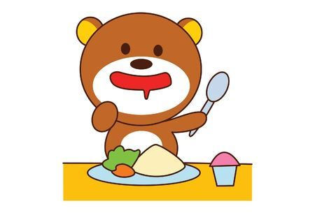 Vector cartoon illustration of cute teddy bear is eating food. Isolated on white background.