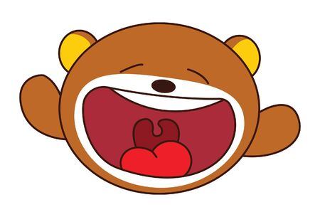 Vector cartoon illustration of cute teddy bear open mouth. Isolated on white background.