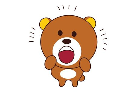 Vector cartoon illustration of cute teddy bear is astonished. Isolated on white background. Иллюстрация