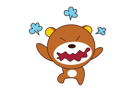 Vector cartoon illustration of cute teddy bear is angry. Isolated on white background. Иллюстрация