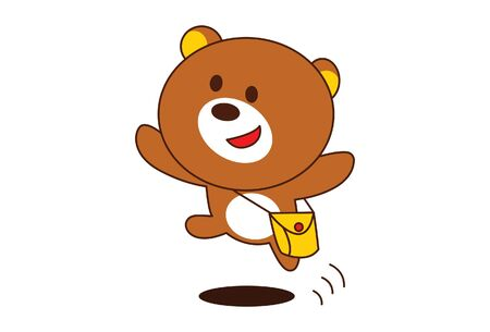 Vector cartoon illustration of cute teddy bear is jumping with sling bag. Isolated on white background.  イラスト・ベクター素材